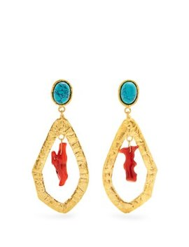 Corail Gold Plated Clip On Drop Earrings by Sylvia Toledano