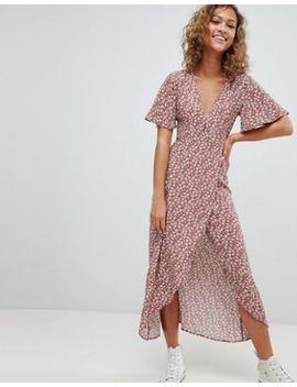 Pull&Bear Floral Dress In Copper by Pull&Bear