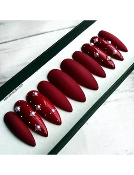 Burgundy Matte False Nails With White Pearls | Shiny Accents | Stiletto Coffin Custom Press On Nails | Long Short Medium Glue On Nails by Etsy