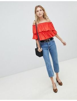 Asos Design Off Shoulder Crop Top With Slinky Ruffle by Asos Design