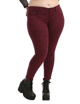 Blackheart Burgundy Skull Print Skinny Jeans Plus Size by Hot Topic