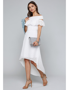 Off Shoulder Hi Lo Dress by Bebe
