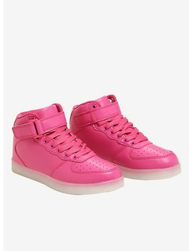Pink Light Up Hi Top Sneakers by Hot Topic