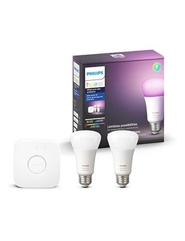 Philips Hue White And Color Ambiance A19 60 W Equivalent Led Smart Light Bulb Starter Kit, 2 A19 Bulbs And 1 Bridge, Works With Alexa, Apple Home Kit And Google Assistant by Philips