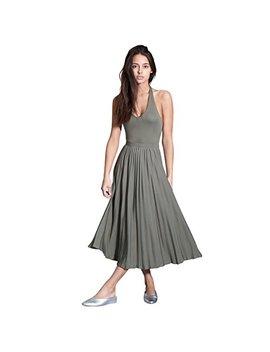 Avec Les Filles Joyce Azria Pleated Halter Dress (Khaki Green) by Avec+Les+Filles