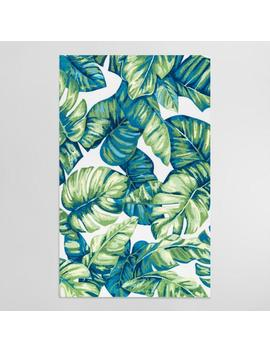 Green Palm Print Indoor Outdoor Rug by World Market