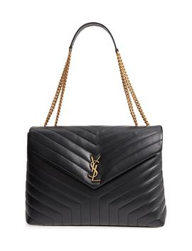 Large Lou Matelassé Calfskin Leather Shoulder Bag by Saint Laurent