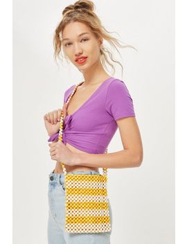 Yellow Beaded Cross Body Bag by Topshop