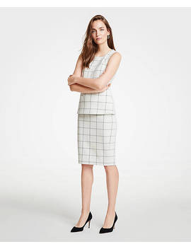 Petite Windowpane Knit Pencil Skirt by Ann Taylor