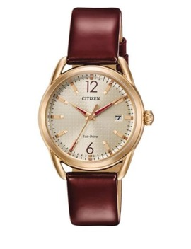 Ladies Straps Eco Drive Goldtone Stainless Steel Leather Strap Watch by Citizen