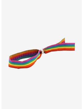 Rainbow Stripe Fabric Bracelet by Hot Topic