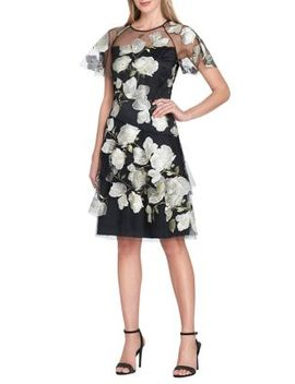 Petite Floral Embroidered Fit & Flare Dress by Tahari Arthur S. Levine
