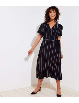 Loft Plus Pinstriped Wrap Dress by Loft
