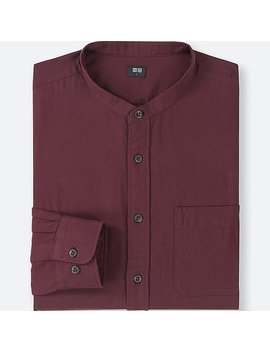 Men Soft Twill Stand Collar Long Sleeve Shirt (Online Exclusive) by Uniqlo