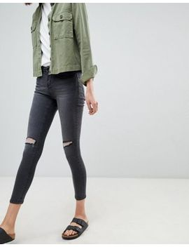 Waven Freya Mid Rise Skinny Jeans With Knee Rips by WÅven