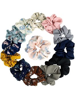 12 A Colors Women's Chiffon Flower Hair Scrunchies Hair Bow Chiffon Ponytail Holder,Including 8 Colors Chiffon Flower Hair Scrunchies And 4 A Solid Colors Chiffon Hair Ties (Style 1) by Kecuco