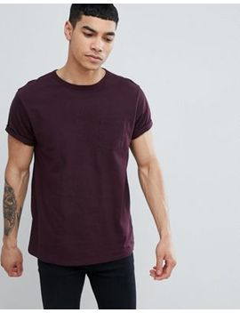 River Island Roll Sleeve T Shirt In Berry by River Island