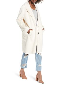 Faux Shearling Long Coat by Kensie