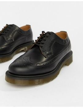 Dr Martens Vegan 3989 Black Leather Stacked Brogues by Dr Martens