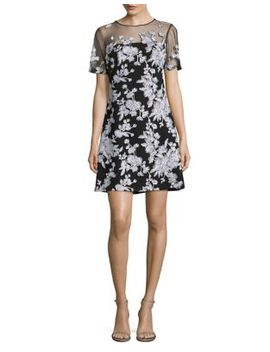 Embroidered Floral Illusion Dress by Tadashi Shoji