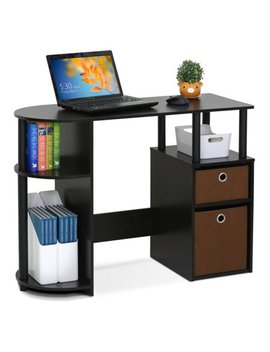 Furinno Jaya Simplistic Computer Study Desk With Bin Drawers, Espresso by Furinno