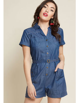 Lighthearted Cartographer Romper In Chambray by Modcloth