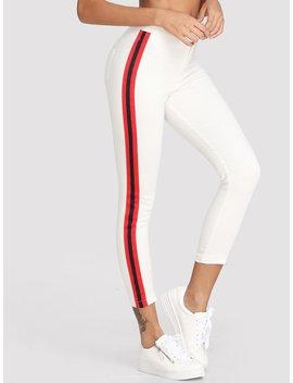 Stripe Tape Side Jeans by Romwe