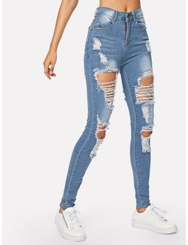 Ripped Bleach Wash Skinny Jeans by Romwe