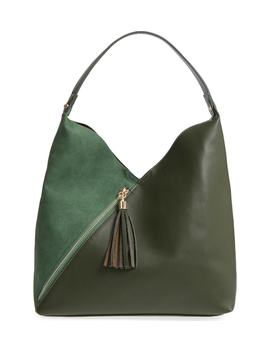 Asymmetrical Zip Faux Leather Tote Bag & Zip Pouch by Leith