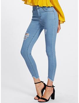 Ripped Frayed Hem Skinny Jeans by Romwe