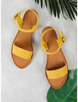 Single Band Ankle Strap Sandal Mustard by Romwe