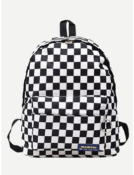 Plaid Detail Metal Ring Backpack by Romwe