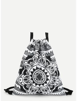 Baroque Style Pattern Drawstring Backpack by Romwe