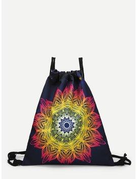 Gradient Lotus Drawstring Backpack by Romwe