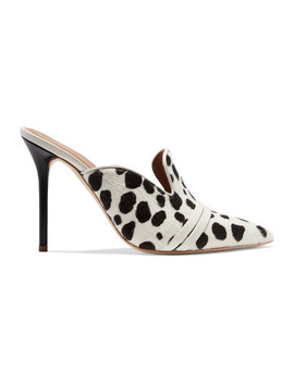 Hayley Leather Trimmed Animal Print Calf Hair Mules by Malone Souliers