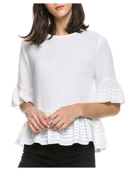 Half Sleeve Top With Pintuck Detail by English Factory