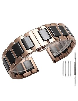 Stainless Steel Ceramic Links Watch Band 20mm/22mm Strap Wristband Bracelet With Butterfly Buckle Clasp by Kai Tian