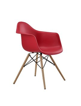 Dhp Mid Century Modern Chair With Molded Arms And Wood Legs, Lightweight, Red by Dhp