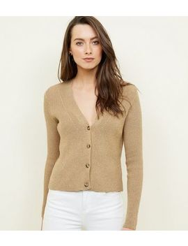 Gold Button Through Ribbed Cardigan by New Look