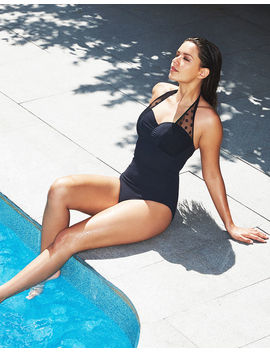 Icon Spot Mesh Underwired Halter Black Swimsuit  Longer Length by Figleaves