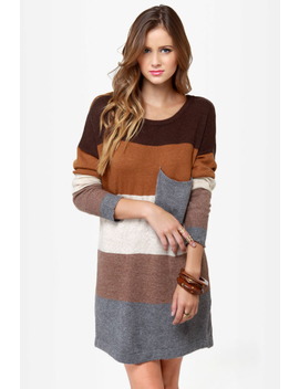Hot Cocoa Brown Striped Sweater Dress by Lulu's
