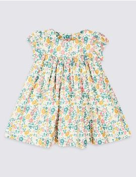 Pure Cotton Floral Print Dress by Tracked Express Delivery: