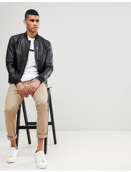 Selected Homme Leather Bomber by Selected Homme