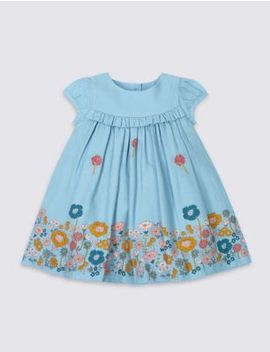 Pure Cotton Floral Border Dress by Tracked Express Delivery: