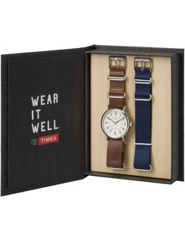 Timex Weekender Box Set Leather & Nylon Straps Casual Watch Tw6 G012500 by Timex