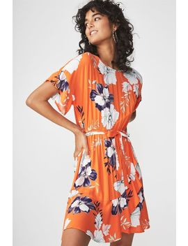 Woven Bray Short Sleeve Wrap Dress by Cotton On