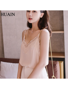 Lace Top Camis Sexy Tank Top Women Camisole Ladies 2018 New Solid Colour V Neck Sleeveless Shirt Backless Summer Shirt Female by Huain