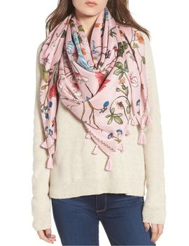 Floral Print Tassel Silk Scarf by Treasure & Bond