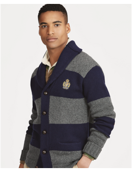Striped Merino Wool Cardigan by Ralph Lauren