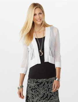 Petite Lace Up Pointelle Cardigan by Dressbarn